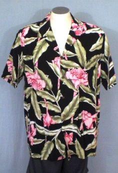 Hilo Hattie Black 2XL Hawaiian Shirt Floral Design Leaves Cotton Blend #HiloHattie #Hawaiian