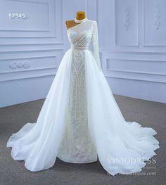 Mock Neck Pearl Beaded Overskirt Wedding Dresses 67345 – Viniodress