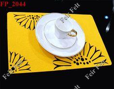 Laser-Cut Felt Placemats   Laser cut sunflower felt placemats and coasters sets, felt table mats ...