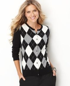 Charter Club Sweater, Long Sleeve Argyle Cardigan