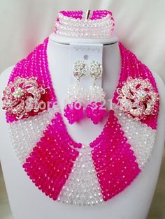 Find More Jewelry Sets Information about Marvelous! Fuchsia Pink Clear AB Crystal  Nigerian Wedding African Beads Jewelry Set VC308,High Quality Jewelry Sets from P&W_Jewelry Accessories Co.,Ltd. on Aliexpress.com