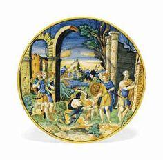 A DUCHY OF URBINO MAIOLICA ISTORIATO DISH CIRCA 1550
