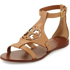 Tory Burch Zoey Leather Logo Flat Sandal ($280) ❤ liked on Polyvore featuring shoes, sandals, sand, caged sandals, ankle wrap flat sandals, ankle strap flats, tory burch sandals and open toe flats