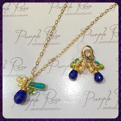Juego de collar y aretes alambrados de lapislázuli con perla de rio, peridot y turquesa