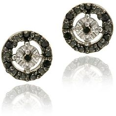 DB Designs Sterling Silver 1/8ct TDW Diamond Circle Earrings