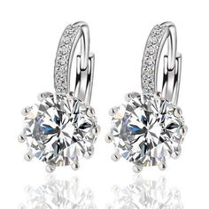 Alloy Silver 10 Color Geometry Crystal Earring Simple Jewelry Design Round Zirconia Earrings Statement For Women