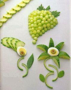 , Edible Crafts, Edible Food, Food Crafts, Edible Art, Veggie Art, Fruit And Vegetable Carving, Veggie Plate, Food Art For Kids, Creative Food Art