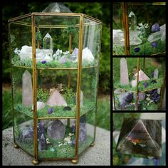 Quartz THREE levels of crystal awesomeness! Features Labradorite, Crystal Quartz, Rose…THREE levels of crystal awesomeness! Crystals Minerals, Rocks And Minerals, Crystals And Gemstones, Stones And Crystals, Healing Stones, Crystal Healing, Deco Zen, Crystal Garden, Crystal Terrarium Diy