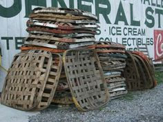 tobacco baskets were used by tobacco companies to display their product when they took it to market.
