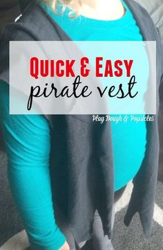 With an Old T-shirt and a few extra supplies this DIY Pirate Dress Up Vest & Eye Patch will be a winner with your kids. Super easy and inexpensive. Pirate Dress Up, Pirate Costume Kids, Up Halloween Costumes, Pirate Day, Pirate Woman, Baby Costumes, Pirate Eye Patches, Dress Up Outfits, Old T Shirts