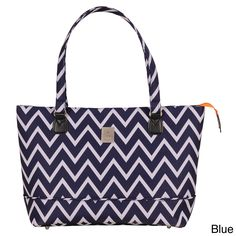 A chic chevron pattern decorates this fashionable Madison tote as it keeps your 15-inch laptop safe. Designed by Jenni Chan, this trendy shoulder bag features five interior pockets, including a space for your tablet and cellphone.