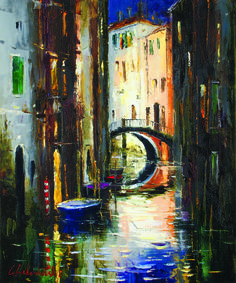 """""""Venice Canal"""" by Gleb Goloubetski Oil on Canvas 60cm x 50cm THIS PAINTING IS SOLD"""