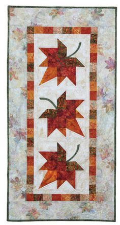 Autumn Leaves: Eleanor Signature Quilt Pattern 735272012603 735272012603 - Quilt in a Day Books Patchwork Table Runner, Table Runner And Placemats, Table Runner Pattern, Quilted Table Runners, Fall Table Runner, Quilt In A Day, Signature Quilts, Place Mats Quilted, Quilted Table Toppers