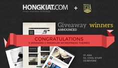 We are happy to announce the winners of our latest giveaway hosted on Hongkiat. We're giving away 3 of our Premium WordPress Themes to 5 lucky users.