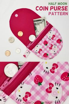 Easy Sewing Pattern For A Cute Coin Purse Sew a cute semi-circle moon coin purse pattern using this high-quality sewing pattern. Easy sewing project and a great item to sell! Diy Coin Purse, Coin Purse Pattern, Coin Purse Tutorial, Purse Patterns, Coin Purses, Cute Sewing Projects, Sewing Projects For Beginners, Sewing Hacks, Sewing Tutorials