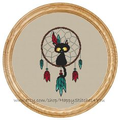 Cross Stitch Pattern PDF cat dream catcher DD0196