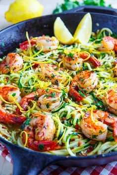Shrimp Scampi with Zucchini Noodles  #justeatrealfood #closetcooking