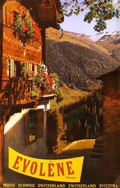 Vintage Travel Poster - Evolène - Valais - Switzerland - by Hans Heinrich Schellenberg - 1959.