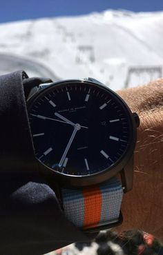20mHome Maurice de Mauriac Swiss watch with the Le Mans Nato strap.