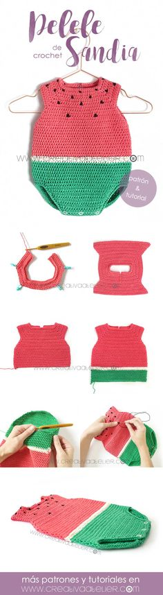 Watermelon Crochet Romper 🍉 Pattern & Tutorial - Watermelon Crochet Romper 🍉 Pattern & Tutorial Learn How to Make This Watermelon Crochet Romper for Baby. FREE Step by Step Tutorial & Pattern. Just imagine your baby in this Romper, isn't he/she cute? Crochet Romper, Crochet Baby Clothes, Crochet Bikini, Knit Crochet, Baby Patterns, Knitting Patterns, Crochet Patterns, Crochet Crafts, Crochet Projects