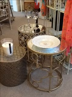 We tried a couple of these cylindrical metal side tables just before Christmas. The results have been amazing so we now have quite a selection to choose from.
