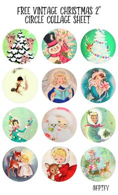 Free Vintage Christmas Circle Collage Sheet