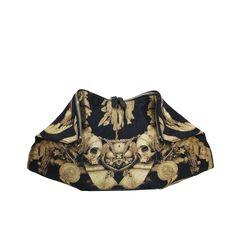 Rare Alexander McQueen Black & Gold Gibbons Print de Manta Clutch Bag c. Gold Handbags, Quilted Handbags, Fashion Handbags, Quilted Purse, Gold Clutch, Black Clutch, Clutch Bag, Gold Purses, Black Purses