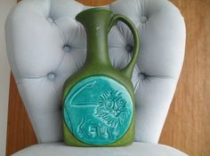 Vintage Mid Century Modern Pottery Pitcher Green by VintageFunland, $19.00