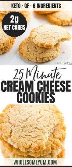 Carb Keto Cream Cheese Cookies Recipe - Quick & Easy - These low carb keto cream cheese cookies are so fast & easy to make! Just 6 ingredients, 10 minutes prep, and 15 minutes in the oven. Dessert Bars, Dessert Mousse, Keto Dessert Easy, Dessert Simple, Gluten Free Shortbread Cookies, Quick Cookies, Keto Cookies, Chip Cookies, Cheesecake Brownies