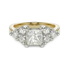 1.65ct G SI1 PRINCESS CUT DIAMOND ENGAGEMENT RING 14K YELLOW GOLD http://www.larrysfinejewelryinc.com
