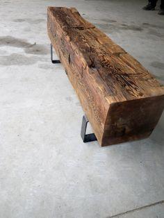 Reclaimed Barn Beam Bench with Steel legs www.woodandco.ca
