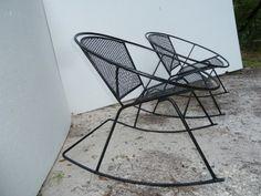 mid century patio chairs | ... RARE Mid Century Salterini Wrought Iron Mesh Patio Hoop Rocking Chairs