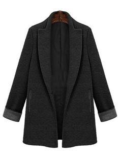 Lapel Pockets Woolen Black Coat