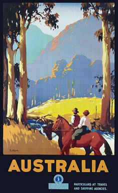 View this item and discover similar for sale at - Original vintage travel advertising poster for Australia by the renowned poster artist James Northfield Scenic image of two horse riders pausing Art Deco Posters, Poster Prints, Modern Posters, Retro Posters, Art Print, Vintage Advertisements, Vintage Ads, Outback Australia, Iconic Australia
