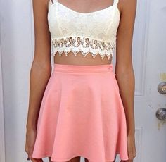 lace bandeau top w/ soft pink high waisted mini.