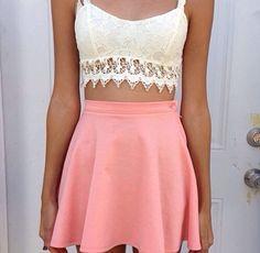 lace bandeau top w/ soft pink high waisted mini.