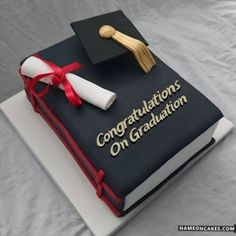 Graduation day is a very special day in everyone's life and the person wants to enjoy this occasion the most. Personalized Graduation Cakes for Boys and Girls. College Graduation Cakes, Graduation Party Decor, High School Graduation, Grad Parties, Graduation Gifts, Graduation Celebration, Library Cake, Pastel Cakes, Cakes For Boys