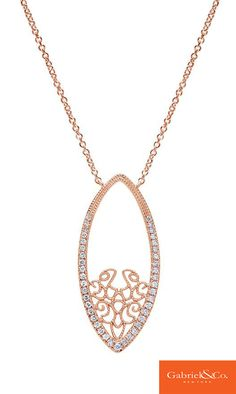 A beautiful 14k Rose Gold Diamond Necklace from Gabriel & Co. that you have to wear for your perfect Rose Gold Wedding day. The details and designs are so beautiful and unique. Find your special wedding pieces with Gabriel & Co.