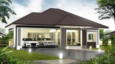 3 Concepts of Bungalow House - House And Decors 3 Storey House Design, Sims House Design, Village House Design, Kerala House Design, Cool House Designs, Bungalow Haus Design, Modern Bungalow House, Bungalow House Plans, House 2