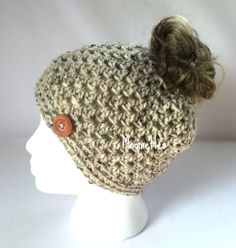 Crochet Handmade Messy Bun Hat Messy Bun Beanie Beige Oatmeal Brown Aran Fleck Wood Button Runner Pony Tail Top Knot Toque Teens Women