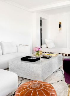 white with leather pouf