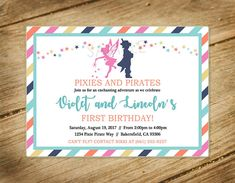 Pixies and Pirates Birthday Party Digital Invitation Pirate Birthday, Pirate Party, 4th Birthday, Birthday Ideas, Baptism Invitations, Digital Invitations, Birthday Invitations, Invites, Im Happy