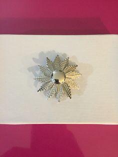 Silver Tone Sunburst Brooch by Monet