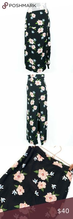 TOPSHOP FLORAL SKIRT SIZE 8 /& 10 black green PINK TROPICAL BNWT