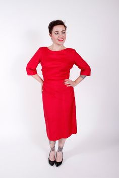 50s Vintage Dress Bright Magenta Silk 1950s Vintage Cocktail Sheath Dress Size Medium