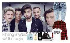 """Filming a video w/ the boys"" by oned-bb ❤ liked on Polyvore featuring 7 For All Mankind, Chanel and Converse"