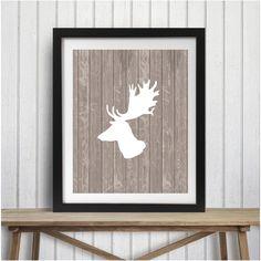Deer head wall art size 8x10 rustic woodland mountains deer antlers nursery country tribal by picksngiggles on Etsy