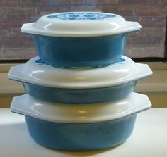 My fave turquoise Pyrex covered casseroles, from Aberfoyle market.
