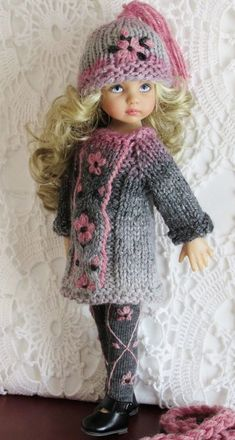 Crochet Doll Clothes, Knitted Dolls, Girl Doll Clothes, Doll Clothes Patterns, Barbie Clothes, Girl Dolls, Baby Dolls, Ropa American Girl, American Girl Clothes