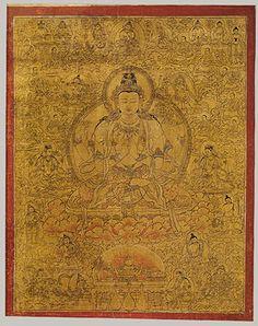 Shadakshari Lokeshvara with Deities and Monks, late 15th century  Tibet